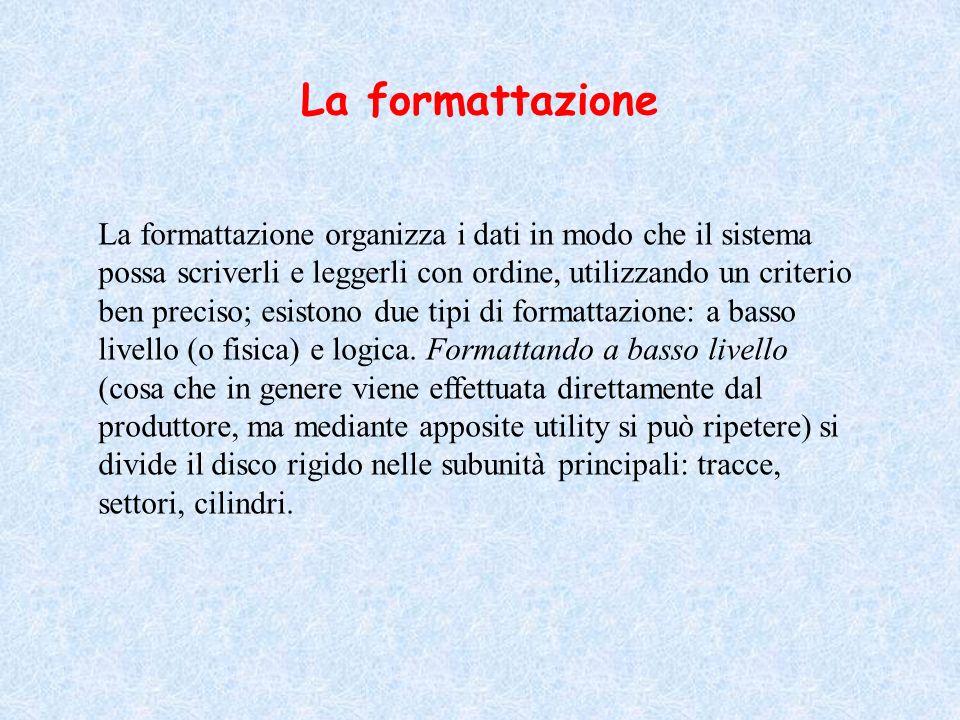 La formattazione La formattazione organizza i dati in modo che il sistema possa scriverli e leggerli con ordine, utilizzando un criterio ben preciso;