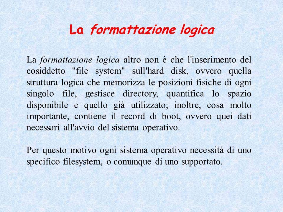 La formattazione logica La formattazione logica altro non è che l'inserimento del cosiddetto
