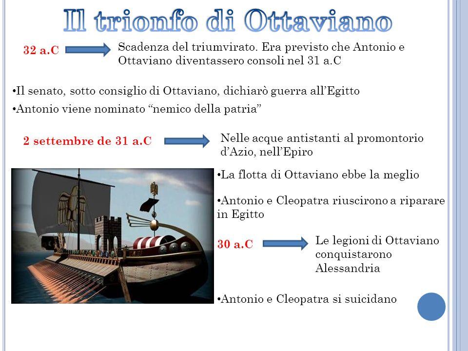 32 a.C Scadenza del triumvirato. Era previsto che Antonio e Ottaviano diventassero consoli nel 31 a.C Il senato, sotto consiglio di Ottaviano, dichiar