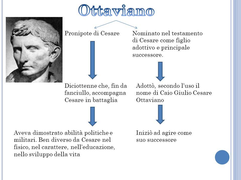 Nominato nel testamento di Cesare come figlio adottivo e principale successore. Pronipote di Cesare Diciottenne che, fin da fanciullo, accompagna Cesa