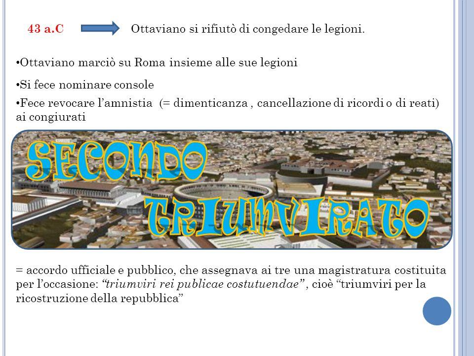 43 a.C Ottaviano si rifiutò di congedare le legioni. Ottaviano marciò su Roma insieme alle sue legioni Si fece nominare console Fece revocare lamnisti