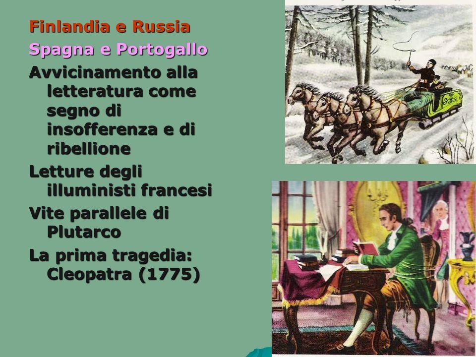 Finlandia e Russia Spagna e Portogallo Avvicinamento alla letteratura come segno di insofferenza e di ribellione Letture degli illuministi francesi Vi
