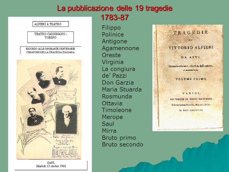 La pubblicazione delle 19 tragedie 1783-87 Filippo Polinice Antigone Agamennone Oreste Virginia La congiura de Pazzi Don Garzia Maria Stuarda Rosmunda