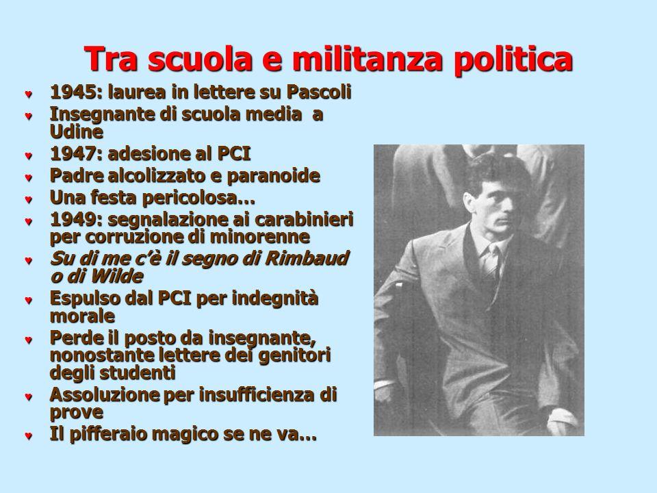 Tra scuola e militanza politica 1945: laurea in lettere su Pascoli 1945: laurea in lettere su Pascoli Insegnante di scuola media a Udine Insegnante di