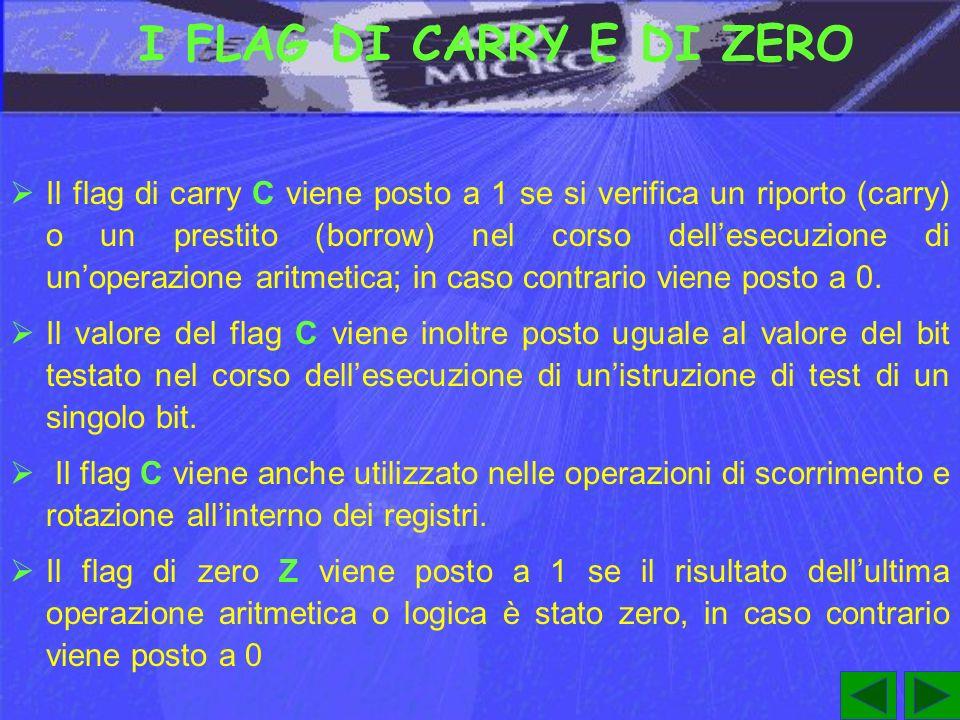 I FLAG DI CARRY E DI ZERO Il flag di carry C viene posto a 1 se si verifica un riporto (carry) o un prestito (borrow) nel corso dellesecuzione di unoperazione aritmetica; in caso contrario viene posto a 0.