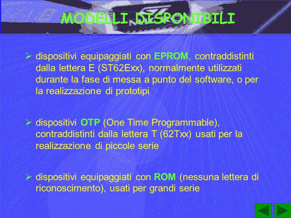 MODELLI DISPONIBILI dispositivi equipaggiati con EPROM, contraddistinti dalla lettera E (ST62Exx), normalmente utilizzati durante la fase di messa a punto del software, o per la realizzazione di prototipi dispositivi OTP (One Time Programmable), contraddistinti dalla lettera T (62Txx) usati per la realizzazione di piccole serie dispositivi equipaggiati con ROM (nessuna lettera di riconoscimento), usati per grandi serie