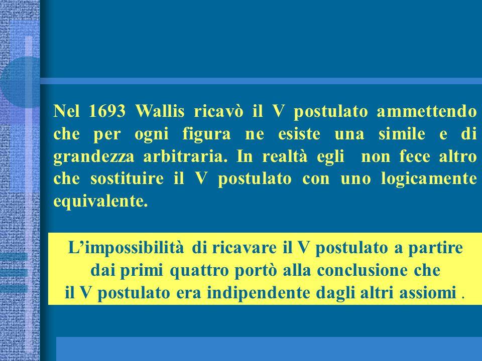 Nel 1693 Wallis ricavò il V postulato ammettendo che per ogni figura ne esiste una simile e di grandezza arbitraria. In realtà egli non fece altro che