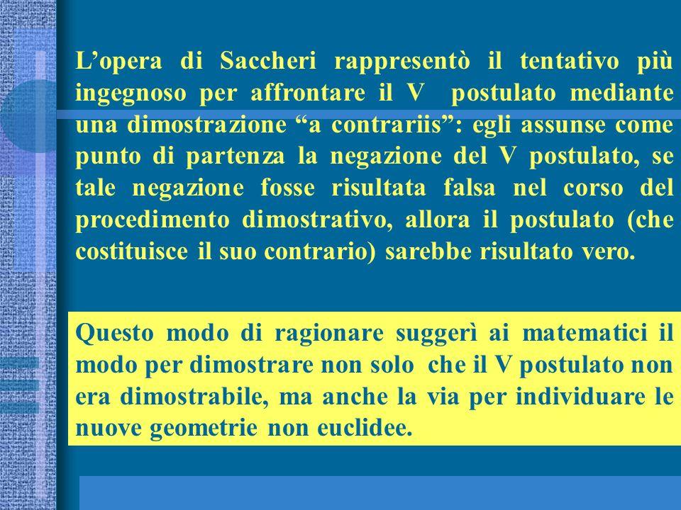 Lopera di Saccheri rappresentò il tentativo più ingegnoso per affrontare il V postulato mediante una dimostrazione a contrariis: egli assunse come pun
