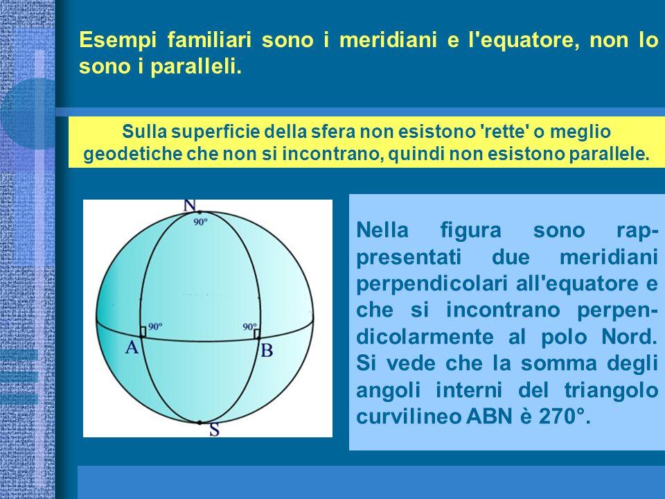 Esempi familiari sono i meridiani e l'equatore, non lo sono i paralleli. Nella figura sono rap- presentati due meridiani perpendicolari all'equatore e