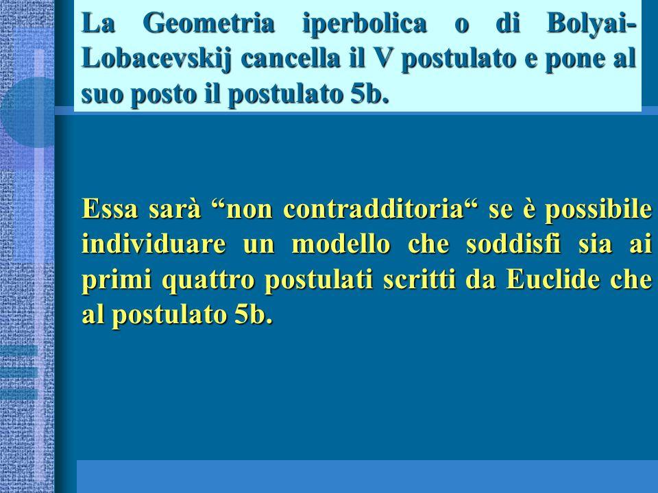 La Geometria iperbolica o di Bolyai- Lobacevskij cancella il V postulato e pone al suo posto il postulato 5b. Essa sarà non contradditoria se è possib