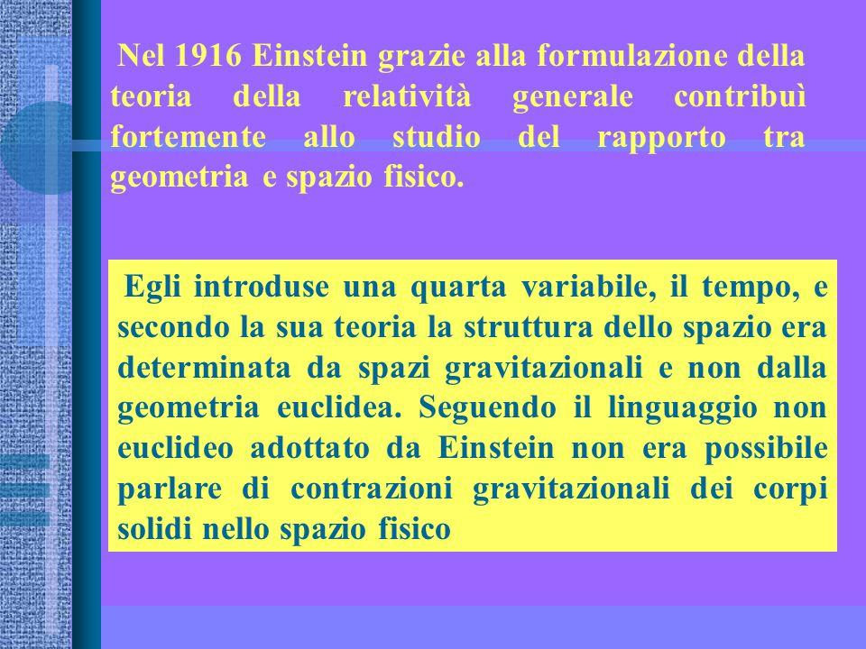 Nel 1916 Einstein grazie alla formulazione della teoria della relatività generale contribuì fortemente allo studio del rapporto tra geometria e spazio