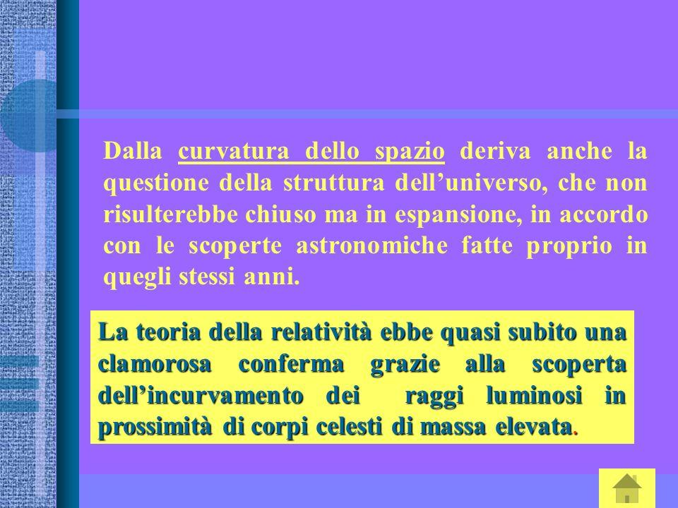 Dalla curvatura dello spazio deriva anche la questione della struttura delluniverso, che non risulterebbe chiuso ma in espansione, in accordo con le s