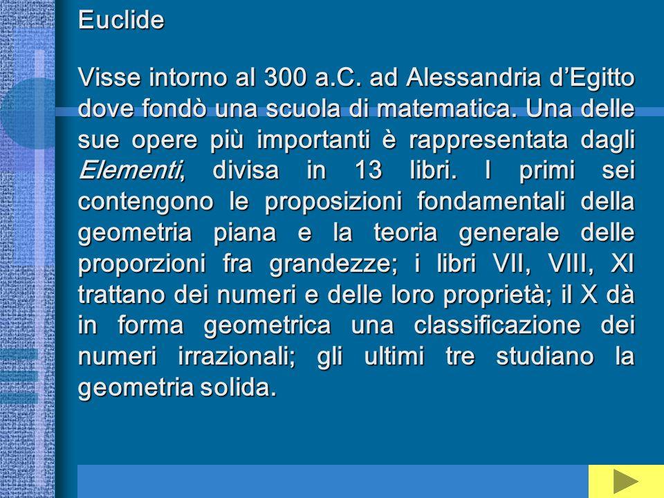 Euclide Visse intorno al 300 a.C. ad Alessandria dEgitto dove fondò una scuola di matematica. Una delle sue opere più importanti è rappresentata dagli