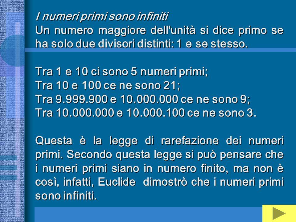 I numeri primi sono infiniti Un numero maggiore dell'unità si dice primo se ha solo due divisori distinti: 1 e se stesso. Tra 1 e 10 ci sono 5 numeri