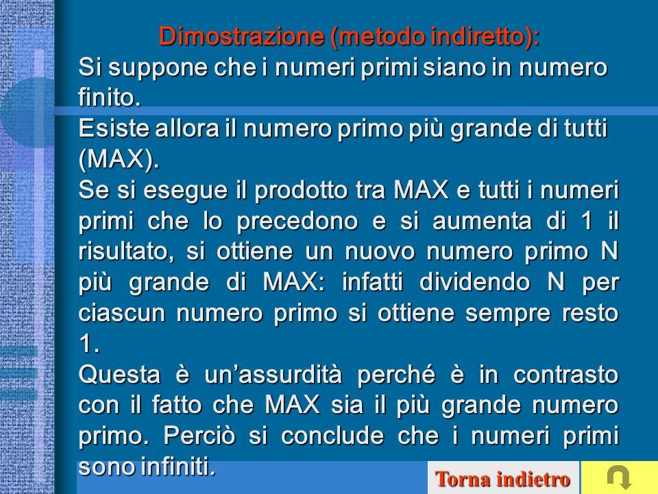 Dimostrazione (metodo indiretto): Dimostrazione (metodo indiretto): Si suppone che i numeri primi siano in numero finito. Esiste allora il numero prim