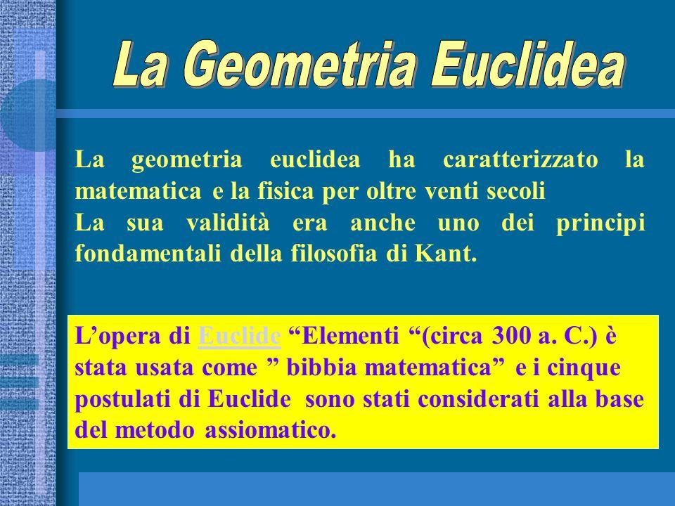 La geometria euclidea ha caratterizzato la matematica e la fisica per oltre venti secoli La sua validità era anche uno dei principi fondamentali della
