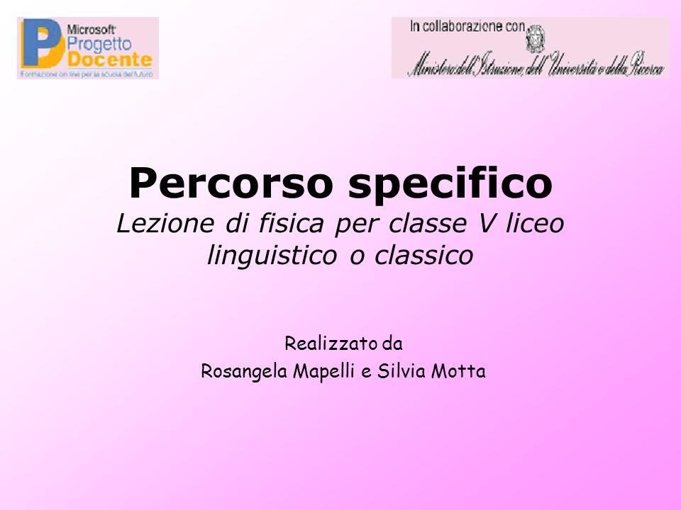 Percorso specifico Lezione di fisica per classe V liceo linguistico o classico Realizzato da Rosangela Mapelli e Silvia Motta