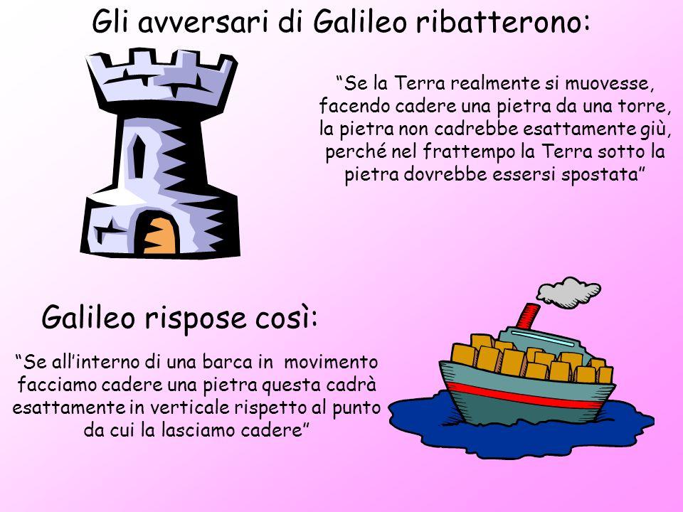 Gli avversari di Galileo ribatterono: Se la Terra realmente si muovesse, facendo cadere una pietra da una torre, la pietra non cadrebbe esattamente gi