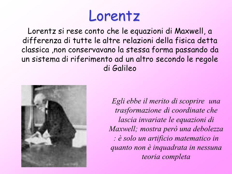 Lorentz si rese conto che le equazioni di Maxwell, a differenza di tutte le altre relazioni della fisica detta classica,non conservavano la stessa for