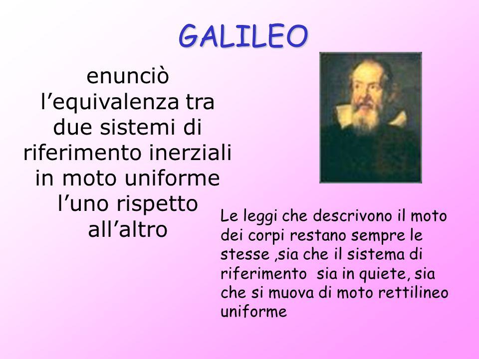 GALILEO enunciò lequivalenza tra due sistemi di riferimento inerziali in moto uniforme luno rispetto allaltro Le leggi che descrivono il moto dei corp
