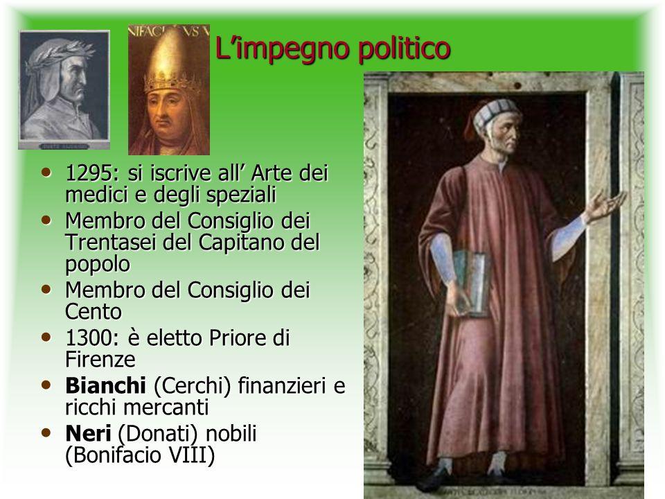 Limpegno politico 1295: si iscrive all Arte dei medici e degli speziali 1295: si iscrive all Arte dei medici e degli speziali Membro del Consiglio dei