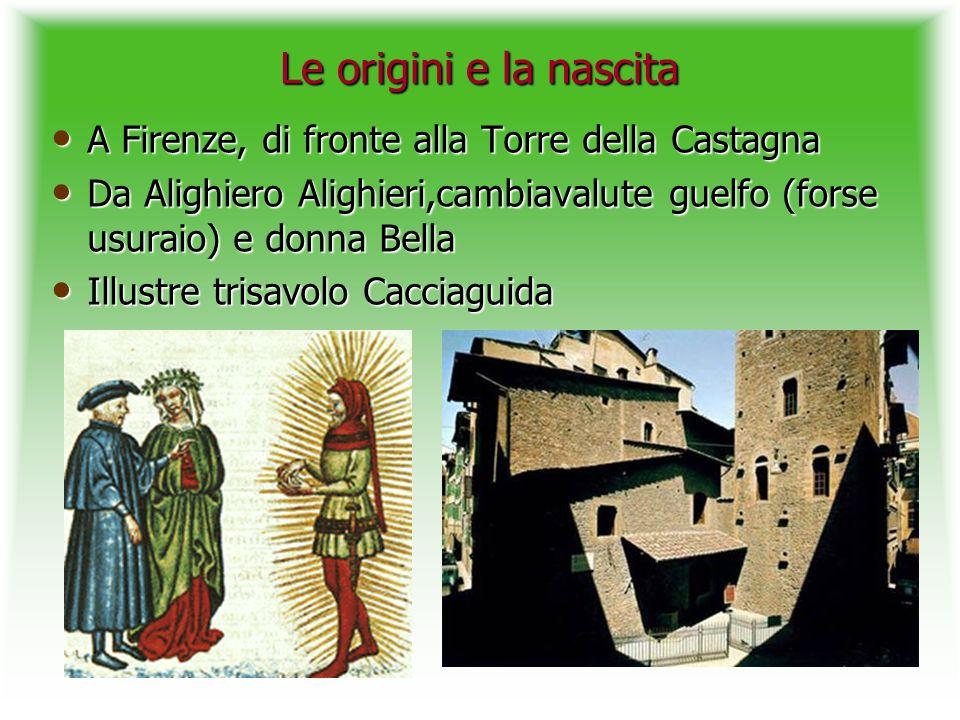 Le origini e la nascita A Firenze, di fronte alla Torre della Castagna A Firenze, di fronte alla Torre della Castagna Da Alighiero Alighieri,cambiaval