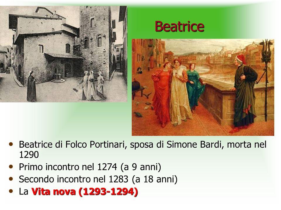 Beatrice Beatrice Beatrice di Folco Portinari, sposa di Simone Bardi, morta nel 1290 Beatrice di Folco Portinari, sposa di Simone Bardi, morta nel 1290 Primo incontro nel 1274 (a 9 anni) Primo incontro nel 1274 (a 9 anni) Secondo incontro nel 1283 (a 18 anni) Secondo incontro nel 1283 (a 18 anni) La Vita nova (1293-1294) La Vita nova (1293-1294)