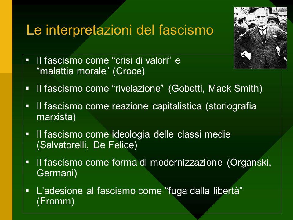 Le interpretazioni del fascismo Il fascismo come crisi di valori e malattia morale (Croce) Il fascismo come rivelazione (Gobetti, Mack Smith) Il fasci