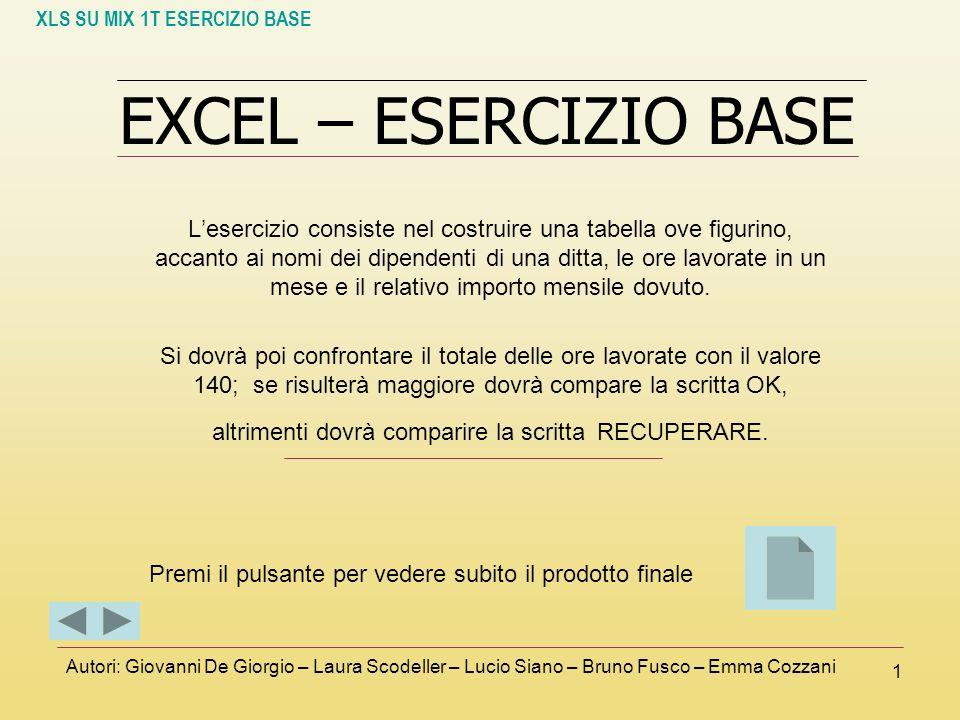 XLS SU MIX 1T ESERCIZIO BASE Autori: Giovanni De Giorgio – Laura Scodeller – Lucio Siano – Bruno Fusco – Emma Cozzani 1 EXCEL – ESERCIZIO BASE Leserci