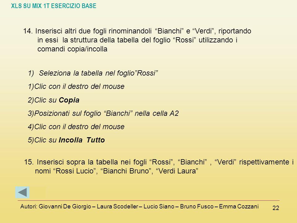 XLS SU MIX 1T ESERCIZIO BASE Autori: Giovanni De Giorgio – Laura Scodeller – Lucio Siano – Bruno Fusco – Emma Cozzani 22 14. Inserisci altri due fogli