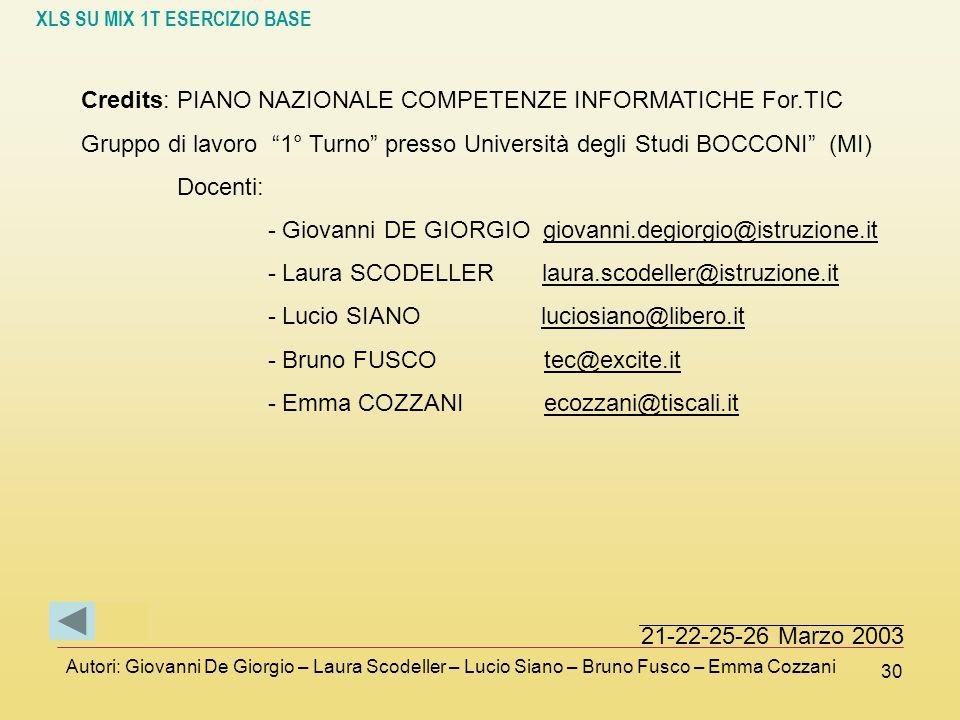 XLS SU MIX 1T ESERCIZIO BASE Autori: Giovanni De Giorgio – Laura Scodeller – Lucio Siano – Bruno Fusco – Emma Cozzani 30 Credits: PIANO NAZIONALE COMP