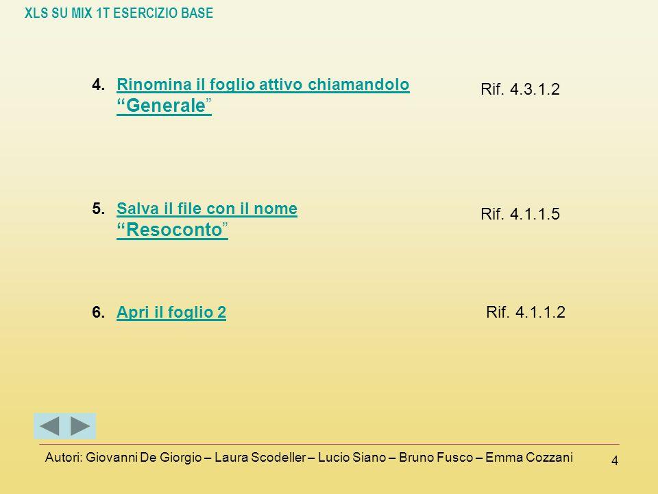 XLS SU MIX 1T ESERCIZIO BASE Autori: Giovanni De Giorgio – Laura Scodeller – Lucio Siano – Bruno Fusco – Emma Cozzani 4 4.Rinomina il foglio attivo ch