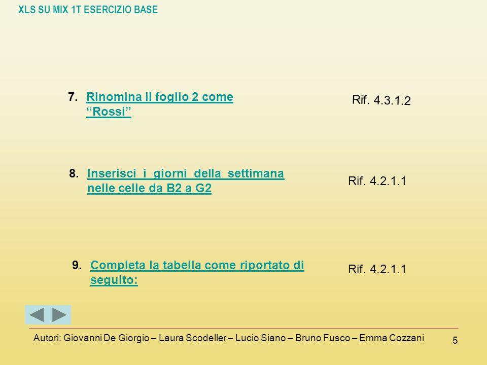 XLS SU MIX 1T ESERCIZIO BASE Autori: Giovanni De Giorgio – Laura Scodeller – Lucio Siano – Bruno Fusco – Emma Cozzani 5 7.Rinomina il foglio 2 come Ro