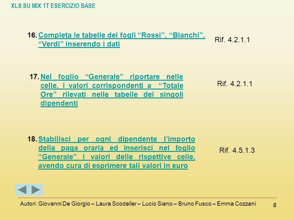 XLS SU MIX 1T ESERCIZIO BASE Autori: Giovanni De Giorgio – Laura Scodeller – Lucio Siano – Bruno Fusco – Emma Cozzani 8 16.Completa le tabelle dei fog
