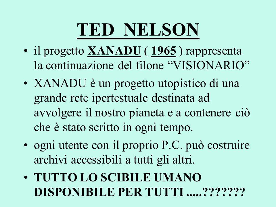 TED NELSON il progetto XANADU ( 1965 ) rappresenta la continuazione del filone VISIONARIO XANADU è un progetto utopistico di una grande rete ipertestu