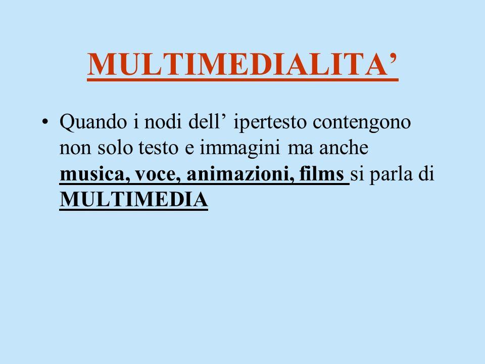 MULTIMEDIALITA Quando i nodi dell ipertesto contengono non solo testo e immagini ma anche musica, voce, animazioni, films si parla di MULTIMEDIA