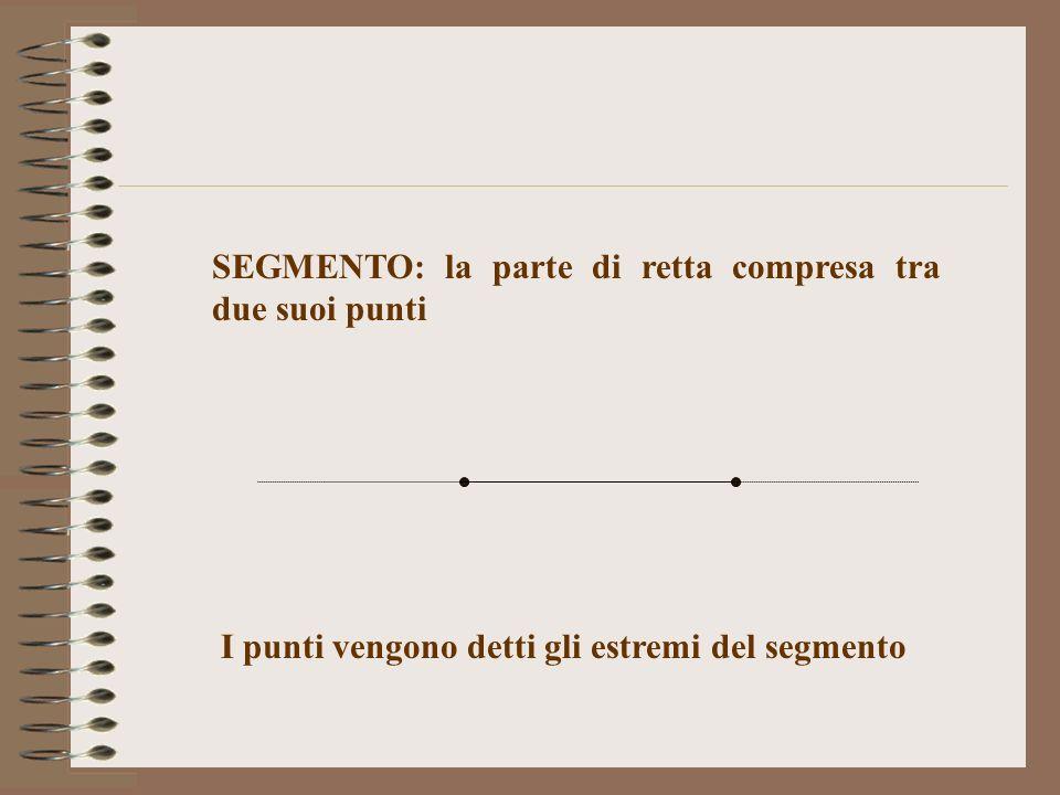 SEGMENTO: la parte di retta compresa tra due suoi punti I punti vengono detti gli estremi del segmento