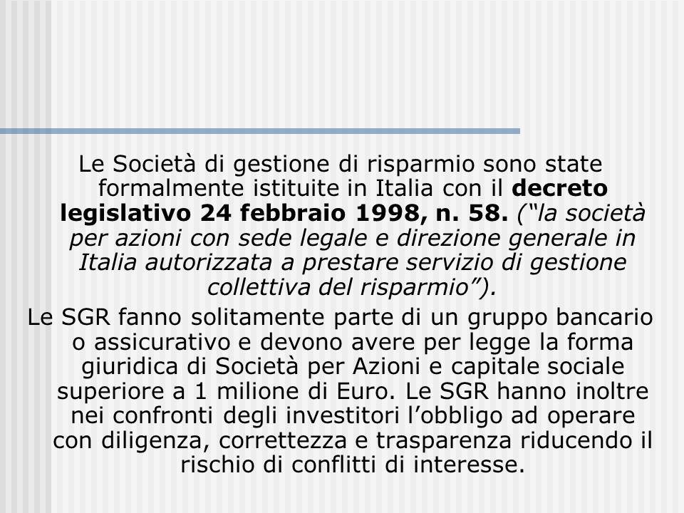 Le Società di gestione di risparmio sono state formalmente istituite in Italia con il decreto legislativo 24 febbraio 1998, n. 58. (la società per azi
