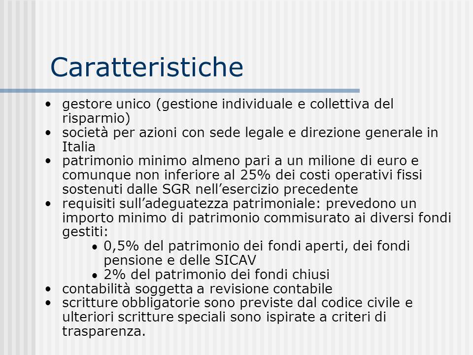 Caratteristiche gestore unico (gestione individuale e collettiva del risparmio) società per azioni con sede legale e direzione generale in Italia patr