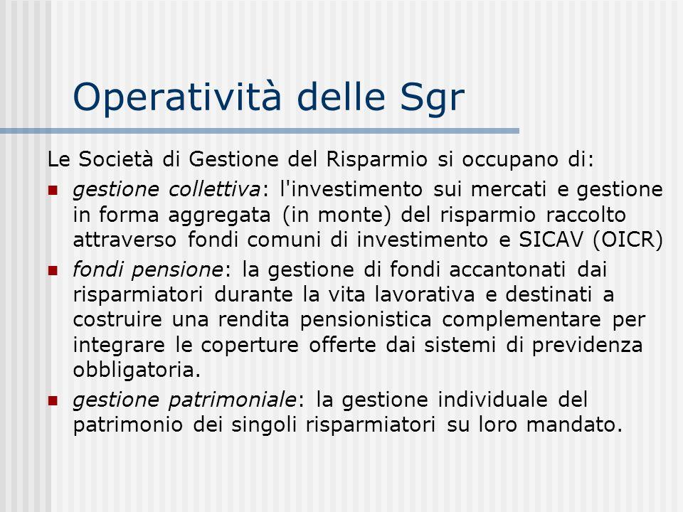 Operatività delle Sgr Le Società di Gestione del Risparmio si occupano di: gestione collettiva: l'investimento sui mercati e gestione in forma aggrega