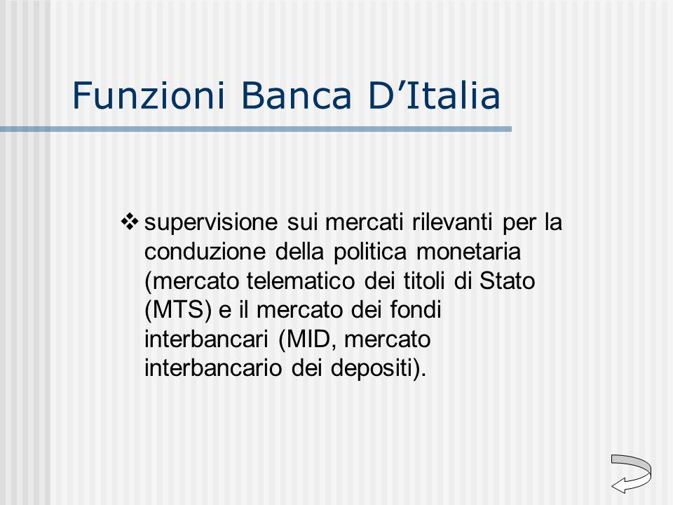 Funzioni Banca DItalia supervisione sui mercati rilevanti per la conduzione della politica monetaria (mercato telematico dei titoli di Stato (MTS) e i