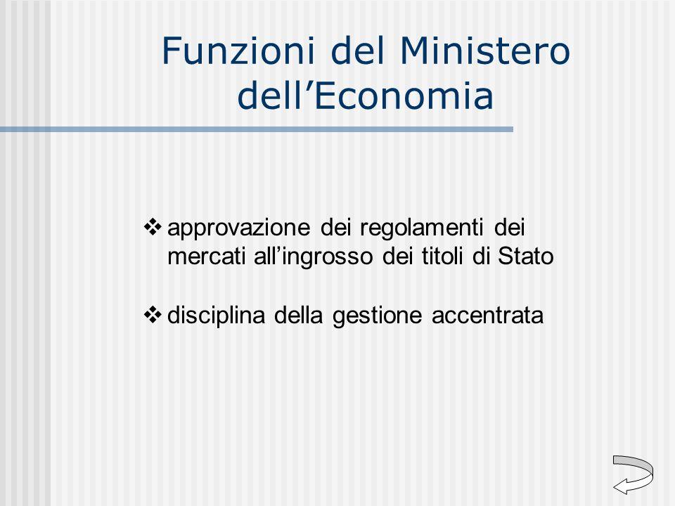 Funzioni del Ministero dellEconomia approvazione dei regolamenti dei mercati allingrosso dei titoli di Stato disciplina della gestione accentrata
