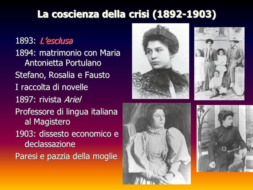 La coscienza della crisi (1892-1903) 1893: Lesclusa 1894: matrimonio con Maria Antonietta Portulano Stefano, Rosalia e Fausto I raccolta di novelle 18