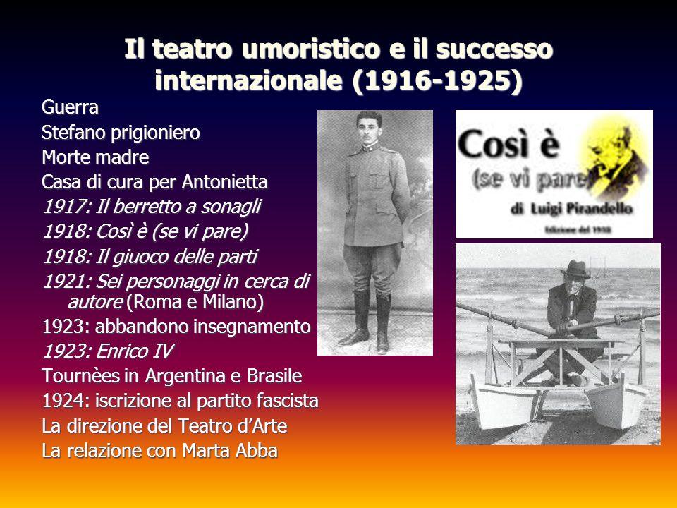 Il teatro umoristico e il successo internazionale (1916-1925) Guerra Stefano prigioniero Morte madre Casa di cura per Antonietta 1917: Il berretto a s