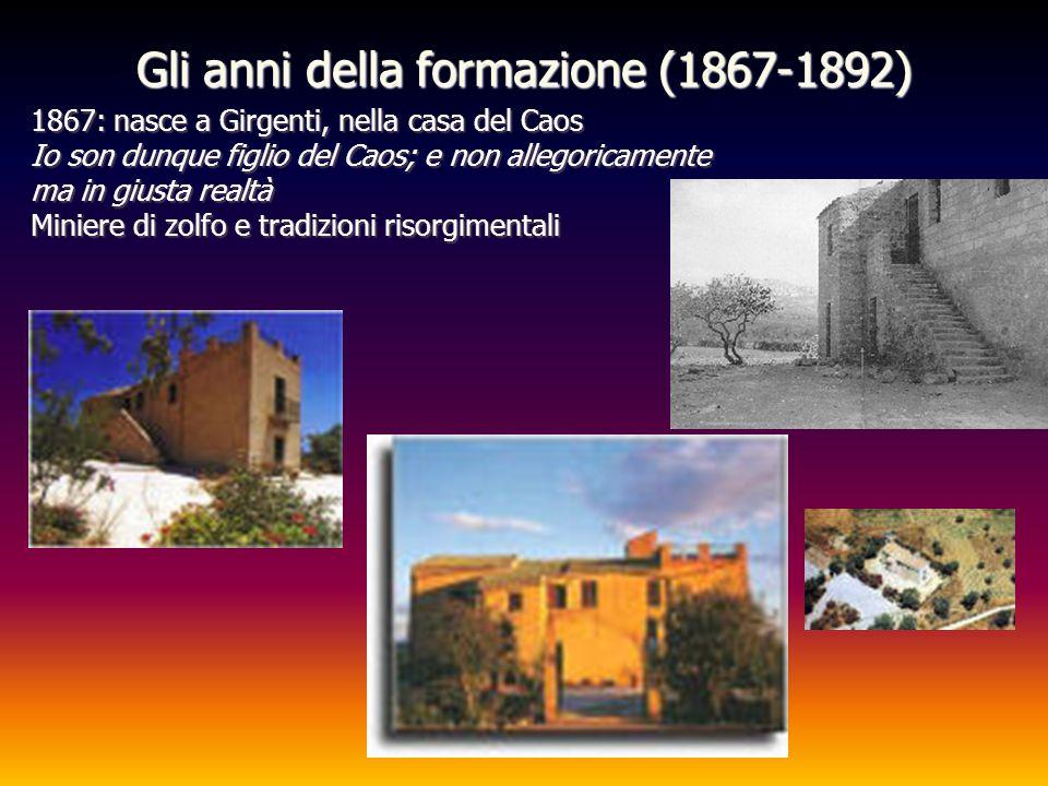 Gli anni della formazione (1867-1892) 1867: nasce a Girgenti, nella casa del Caos Io son dunque figlio del Caos; e non allegoricamente ma in giusta re