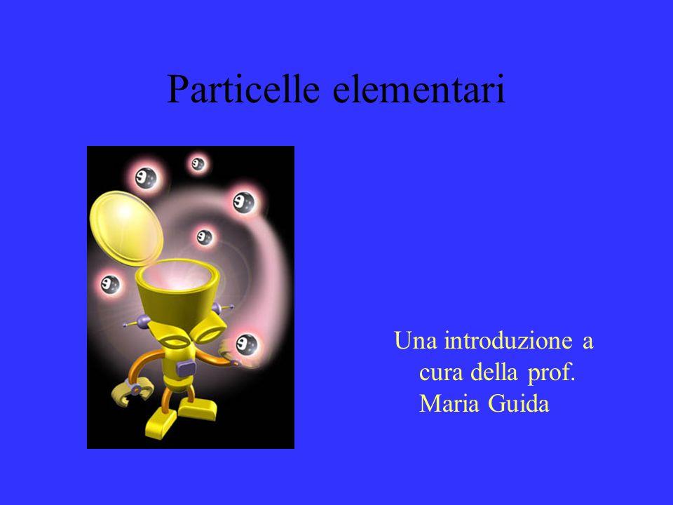 Particelle elementari: la più piccola porzione di materia indivisibile Al momento circa 30 se contiamo solo quelle con vita media di almeno 10-16 secondi