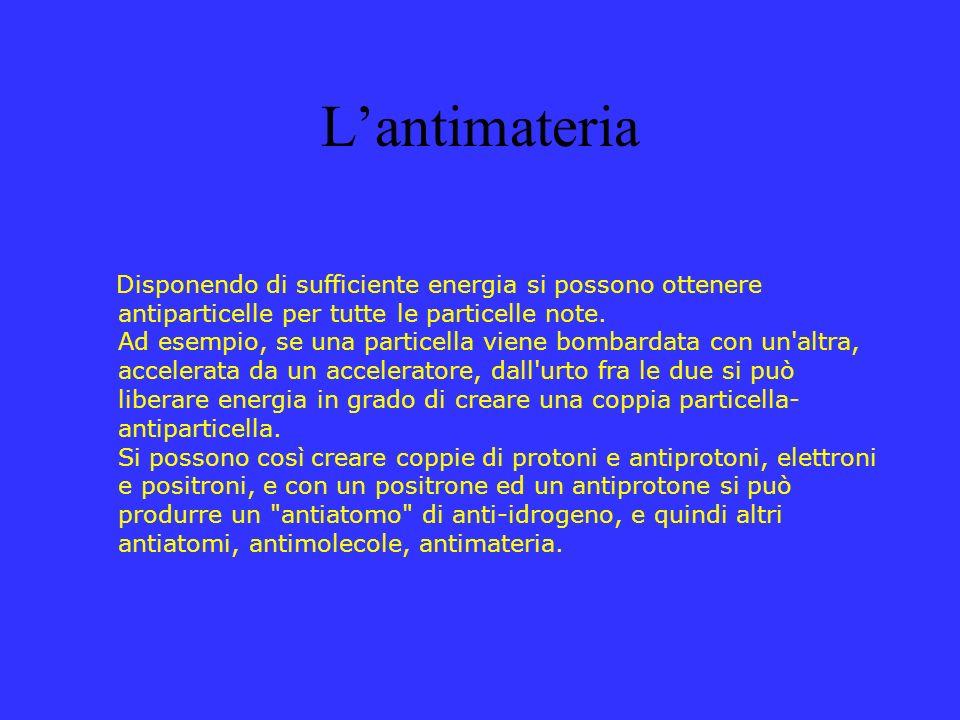 Lantimateria Disponendo di sufficiente energia si possono ottenere antiparticelle per tutte le particelle note. Ad esempio, se una particella viene bo