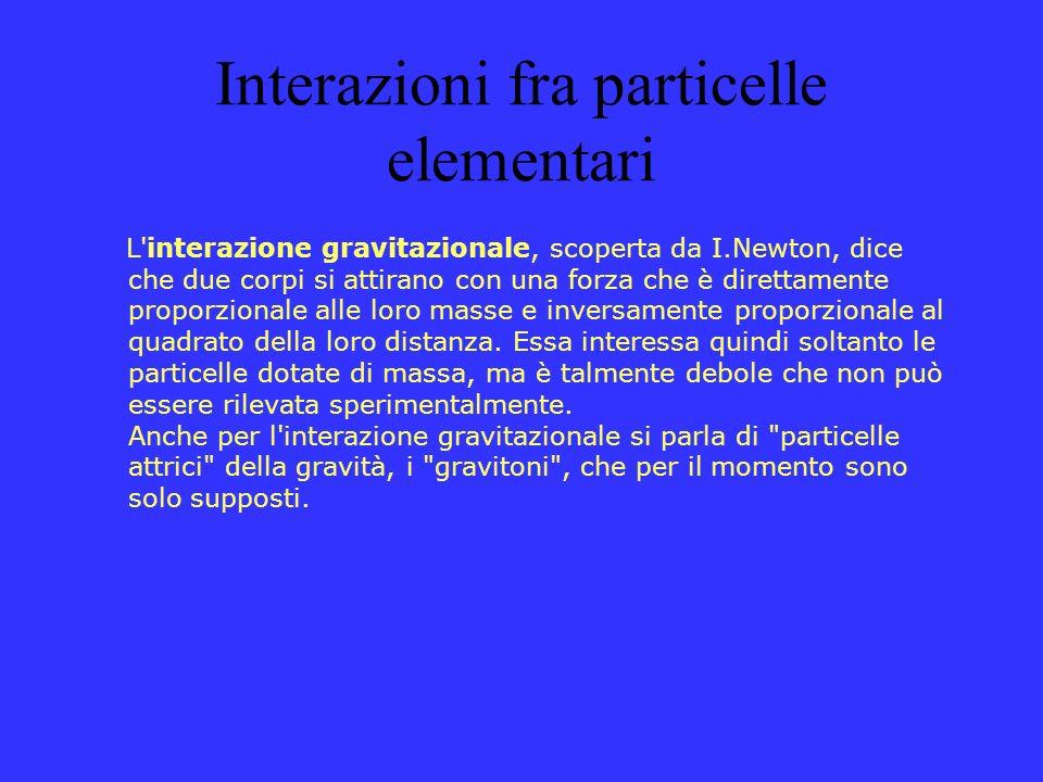 Interazioni fra particelle elementari L'interazione gravitazionale, scoperta da I.Newton, dice che due corpi si attirano con una forza che è direttame