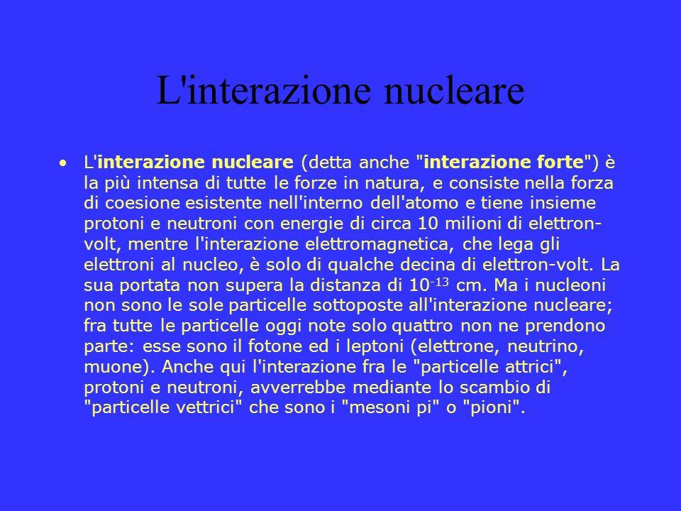 L interazione debole L interazione debole è data dalla capacità di modifica spontanea, accompagnata da emissione di radiazioni, degli atomi dei materiali radioattivi, come nell atomo di uranio che si trasforma in atomo di piombo.