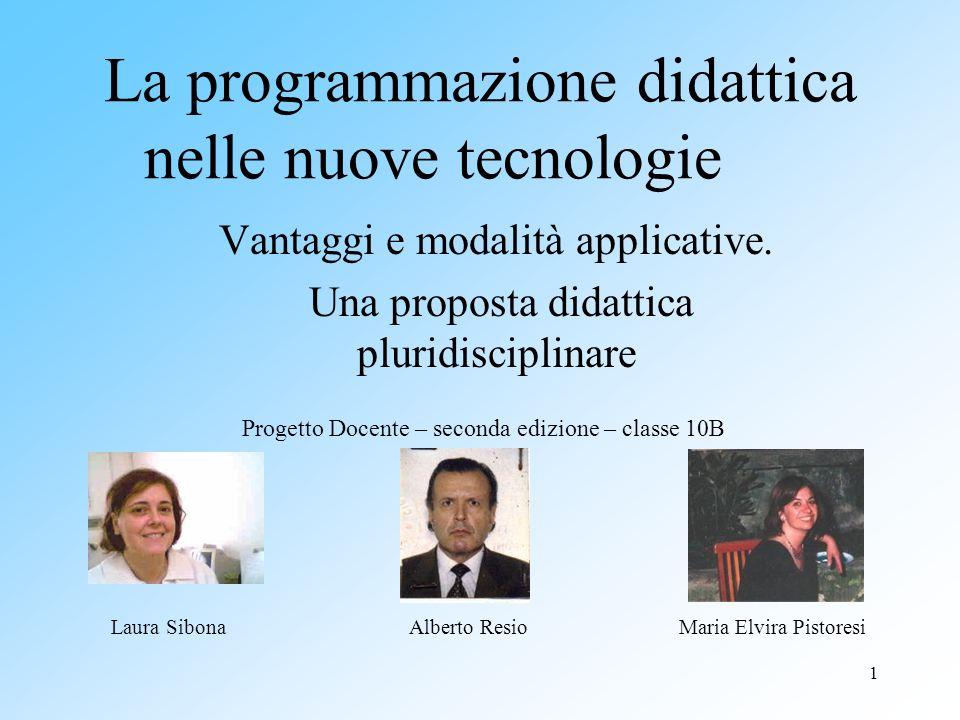 1 La programmazione didattica nelle nuove tecnologie Vantaggi e modalità applicative. Una proposta didattica pluridisciplinare Laura SibonaMaria Elvir